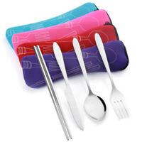 1pcs Stainless Steel Cutlery Chopsticks Spoon Fork Bag Portable Travel