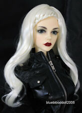 "1/3 bjd 8-9"" doll head white braid long wig dollfie Luts Iplehouse JD204SM413L"