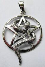 Sterling Silver ( 925 )  Snake  Wrapped  Pentagram  Pendant     !!       New  !!
