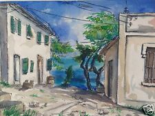 10/10: Impressionismus Aquarell Gemälde Gabicce Monte Meer Gabicce Mare Weihmann
