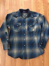 Men's Med Pendleton High Grade Western Wool Plaid Check Blue Grey Shirt
