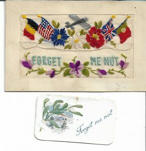 WWI SILK POSTCARD FORGET ME NOT WITH INSERT