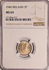 1946 MS64 Ireland 3 Pence NGC UNC KM 12a