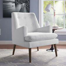 Mid-Century Modern Tufted Upholstered Fabric Accent Lounge Armchair in White