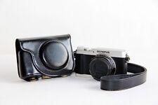 Black camera leather case bag for Olympus SH-1 16 MP Digital Camera Silver Black