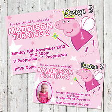 Personalised PEPPA PIG + HELLO KITTY Photo Birthday Invitations invite + Magnets