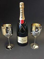 Moet Chandon Impérial Champagner 1,5l Mag. Flasche 12% Vol + 2 Gold Acryl Gläser