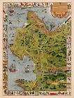 Monterey Peninsula and Del Monte Properties Pictorial Wall Map Poster Jo Mora