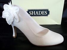 SHADES LADIES IVORY SATIN WEDDING BRIDAL HEELS COURT SHOES WOMANS UK 6 - EU 39