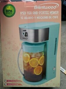 NEW Brentwood ICED TEA & COFFEE MAKER KT-2150BL Teal Blue, Includes 64oz Pitcher