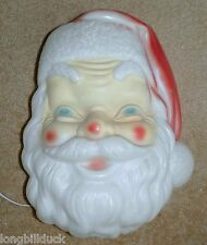Lighted Vintage Santa Blow Mold Head Outdoor Holiday Christmas Light