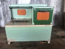 Vintage 1930s CHILDRENS ELECTRIC TOY STOVE AND OVEN - Green Orange Tin Metal