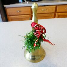 """Vintage Brass School Bell 8"""" Christmas Decorated"""