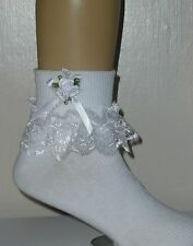 GIRLS  FRILLY LACE SOCKS SIZE LOTS OF SIZES WHITE BOW AND BEADs ROSE CLUSTER