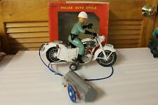 Tin Motorcycle Toy  Bandai Police Auto Cycle 1960's B/O with box and works