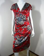 ARDEN B. SLEEVELESS SILK FLORAL PRINT DRESS SIZE 8 Red Floral V NECKLINE