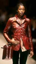 GIANFRANCO FERRE RUNWAY VINTAGE RED LEATHER BLAZER EXCELLENT COND SIZE 44