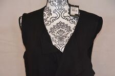 Adrianna Papell Rib Vest With Belt Black Sweater Open Front Size Large.