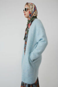 Acne Studios AUTH NEW Raya Dusty Blue Fluffy Mohair Long Open Pocket Cardigan L