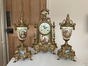 Antique French StyleGarniture Clock Set Brass Porcelain Franz Hermle Lancini