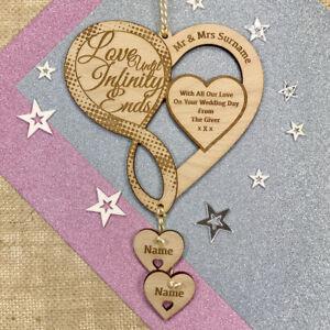 Personalised Wedding Keepsake Gift Infinity Sign Love Heart Plaque Bride & Groom