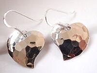 Heart Hammered Pattern Earrings 925 Sterling Silver Dangle Corona Sun Jewelry