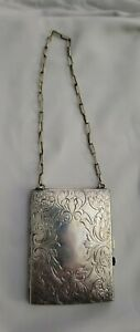 Antique Art Nouveau German Silver coin purse & compact with hidden compartment