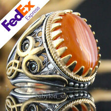 Natural Striped Agate Stone 925 Sterling Silver Turkish Handmade Men's Ring