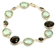 """Smokey Topaz & Green Amethyst Gemstone Bracelet With 14k Rose Gold 7 3/4"""""""