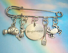 Safety Pin Brooch Ariel Flounder The Little Mermaid Dinglehopper Fork Charms