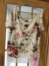 Yours Size 22/24 White And Pink Floral T Shirt With Lace Trim BNWT
