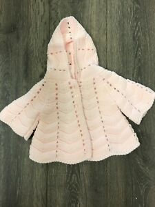 Baby babies girl girls hooded cardis cardi jacket pink shell 3-6 months