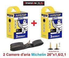 "2 Camera d'aria Michelin 26""x1,6/2,1 valvola Regina per bici 26 MTB Mountain Bik"