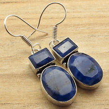 ! Silver Plated Fashion Jewellery Dazzling Simulated Sapphire 2 Gem Earrings