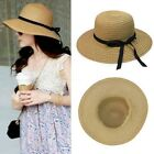 Women Elegant Bohemia Summer Sun Hat Wide Brim Beach Straw floppy Beach Cap 1pc