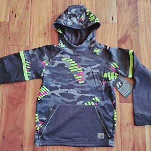 Russell Boys L Tech Fleece CAMO Pullover Hoodie LARGE 10-12 GRAY Black Green Red