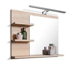 Badspiegel mit Ablagen LED Beleuchtung Eiche Badezimmer Spiegel Wandspiegel