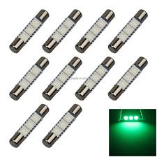 10x Green RV T6.3 Fuse Blub Sun Visor Lamp 31MM 3 5050 SMD LED 6614 6614F Z2708