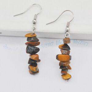 Natural Multiple Gemstone Chip Gravel Nugget Beads Dangle Silver Hook Earrings