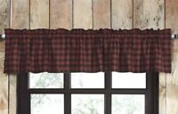 CUMBERLAND Valance Black/Red Plaid Cabin Lodge Hunting Cotton Lined VHC 16x60