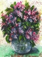 ACEO Lilac vase abstract flowers original painting acrylic art card sign