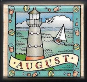 AUGUST LIGHTHOUSE Nautical Sea Holiday of Month Calendar Hero Arts Rubber Stamp