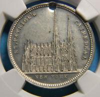 1879  New York Saint Patricks Cathedral Medal By G.H. Lovett NGC MS 63