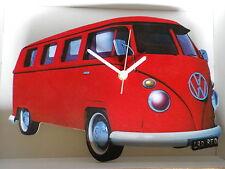 Rojo pantalla dividida de diseño clásico de Vw Camper Van Reloj De Pared. Nuevo Y Sellado