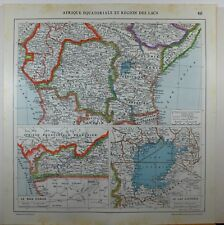 1929 ORIGINAL MAP ~ AFRICA CENTRAL LAKE VICTORIA TANGANYIKA BELGIAN CONGO