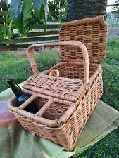 More details for vintage wicker picnic basket hamper with champagne / wine bottle holder