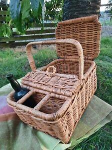 Vintage Wicker Picnic Basket Hamper With Champagne / Wine Bottle holder