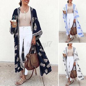 UK Women Summer Holiday Beach Floral Kimono Long Cardigan Maxi Cover Up Swimwear