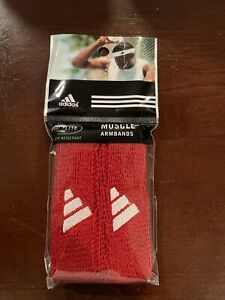 Adidas ~ RED Muscle Arm Bands ~ CLIMALITE ODOR Resistant ~ Pack Of 2 NEW 🏀