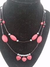 Handmade Red & Black beaded necklace with hearts